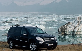 Wallpaper mercedes-benz, water, snow