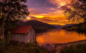Picture sunset, lake, Norway