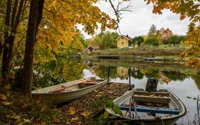 Picture autumn, foliage, boats, channel, Sweden, Landeryd, Easter Gotland