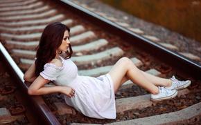 Picture pose, rails, figure, dress, brunette, railroad, legs, beauty, gravel, sleepers, sneakers, bokeh, Julia Pushman, Ivan …