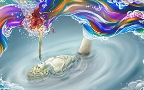 Picture water, girl, paint, hand, art, guy