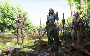 Picture river, death, weapons, victory, elf, Girl, warrior, armor
