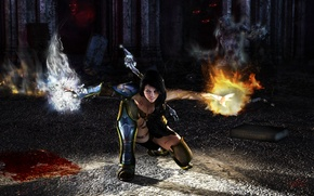 Picture monsters, magic, ice, armor, Girl, fire