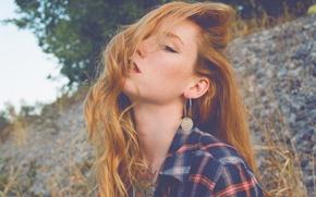 Picture girl, woman, model, tattoo, Hattie Watson, female, Redhead, earring, flannel
