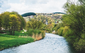 Picture grass, river, trees, nature, Germany, way, beauty, village, path, church, Kirn, gree