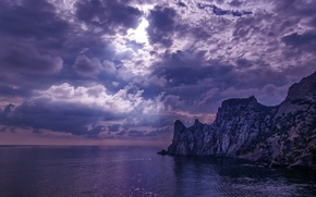 Picture sea, beach, clouds, rocks, the sun's rays
