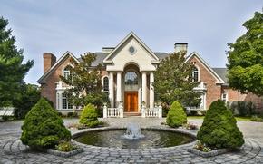 Wallpaper architecture, mansion, columns, fountain, house