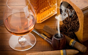 Picture table, glass, tube, cigars, cognac, tobacco