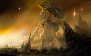 Picture space, rock, planet, dead space, Ishimura, monolith