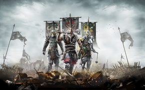Picture armor, samurai, flags, knight, Ubisoft, Viking, For Honor