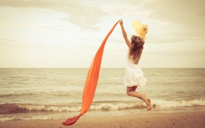 Picture sand, sea, beach, water, girl, joy, happiness, river, background, jump, Wallpaper, mood, dress, wallpaper, girl, …