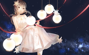 Wallpaper vocaloid china, vocaloid, art, weitu, tape, anime, girl, stars, yuezheng ling, lanterns