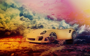 Picture car, white, smoke, 911, white, porsche, Porsche, smoke, monolith, epic, monolit