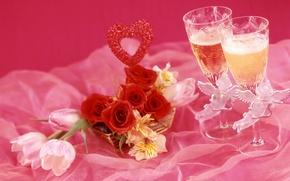 Picture wine, roses, glasses, tulips, champagne, alstremeria