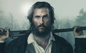 Picture forest, trees, beard, the gun, poster, Matthew McConaughey, Matthew McConaughey, Free State of Jones, Free …