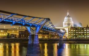 Wallpaper bridge, home, London, lights, UK, night, promenade, river