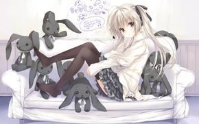 Picture labels, sofa, toys, rabbit, art, girl, kasugano sora, yosuga no sora, ohara tometa