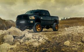 Picture Dodge, Front, Black, Truck, Ram, Wheels, Vehicle, Outdoor, ADV.1, Bronze