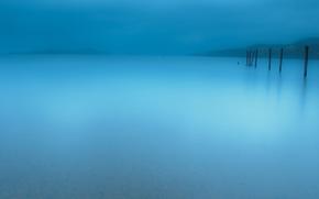 Picture landscape, nature, fog, lake, minimalism