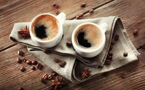 Wallpaper coffee, Cup, napkin, star anise, cofeine grain