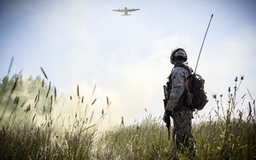 Picture field, soldiers, the plane