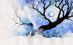 Wallpaper the moon, tree, figure, deviantart, white, sulamith, blue