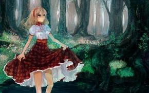 Picture forest, girl, river, art, pisuke