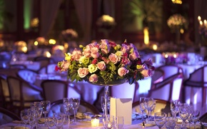 Wallpaper flowers, restaurant, bouquet, glasses, hydrangeas, table, roses