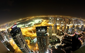 Picture skyscrapers, tall, lighting, home, panorama, Dubai, the city, skyscrapers, lights, Dubai, view, night, UAE, road, ...