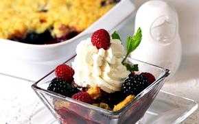 Picture berries, raspberry, background, widescreen, Wallpaper, food, ice cream, wallpaper, dessert, widescreen, background, full screen, HD …