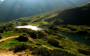 Picture road, the sun, light, river, mountain, slope