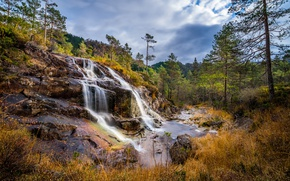 Wallpaper cascade, forest, autumn, Rogaland, Norway, Lund, Lund, Norway, trees, waterfall, Rogaland