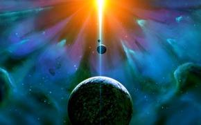 Picture light, nebula, the universe, star, planet, satellite