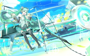 Picture girl, bed, anime, art, microphone, Hatsune Miku, Vocaloid, Vocaloid, 119
