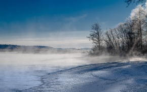 Picture winter, the sky, snow, trees, mountains, fog, lake, couples
