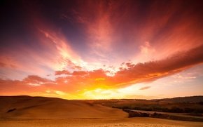 Picture field, the sky, clouds, sunset, France