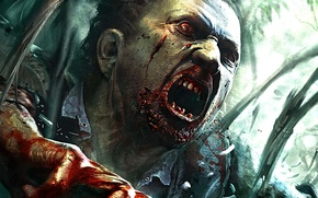 Picture girl, zombie, blood, game, red eyes, island, man, hand, Dead Island, angry, fury