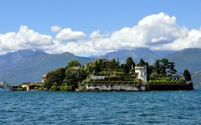 Picture water, clouds, mountains, lake, island, Alps, Italy, Italy, Palace, Alps, Piedmont, Piedmont, Isola Bella, Palazzo …