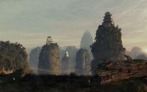 Picture bridge, rocks, house, sky, hills