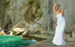 Picture water, girl, smile, stones, white, model, dress, actress, blonde, Luisana Lopilato, Luisana Lopilato