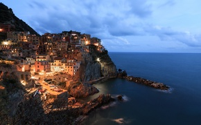Picture sea, the city, rocks, home, the evening, Manarola
