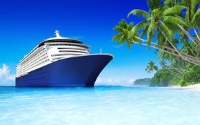 Picture sea, beach, tropics, palm trees, stay, ship, beach, sea, holiday, ship, tropics