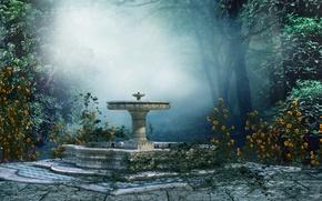 Picture trees, landscape, flowers, fog, Park, mood, fountain, art
