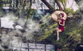 Picture summer, girl, river, umbrella, Asian