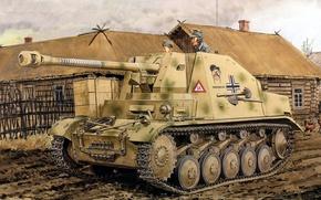 Picture figure, art, Marten, a light German tank destroyer, Marder II