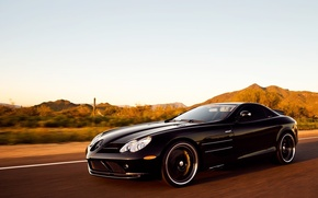 Picture black, speed, track, Mercedes, Mercedes, SLR-maclaren