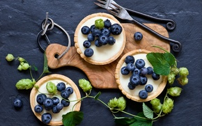 Picture berries, Board, cakes, fork, blueberries, tartlets, hops