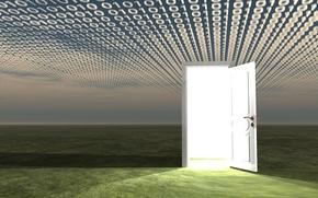 Picture field, light, the door, figures