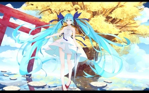 Picture water, girl, tree, anime, art, vocaloid, hatsune miku, l.l.