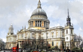 Wallpaper the city, London, England, St. Paul's Cathedral, paint, figure